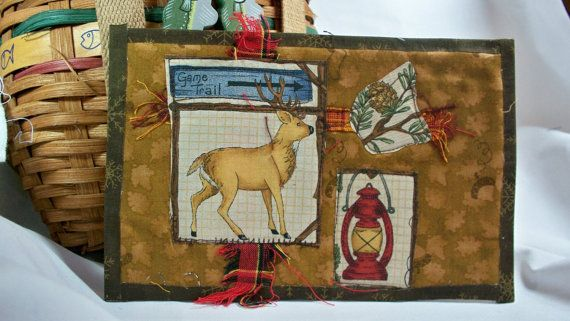 GAME TRAIL Quilted Fabric Postcard by quiltingcafe on Etsy, $7.00
