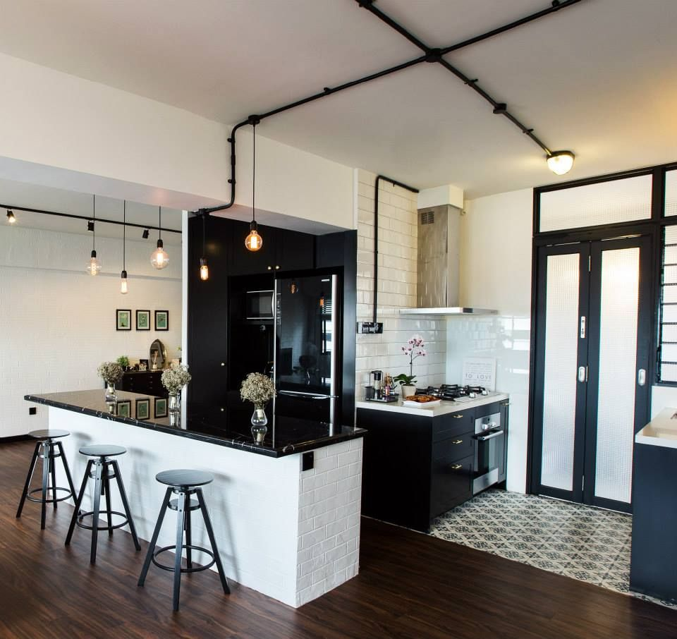 Black U0026 White Kitchen | Singapore HDB Flat By JQ Ong/The Association