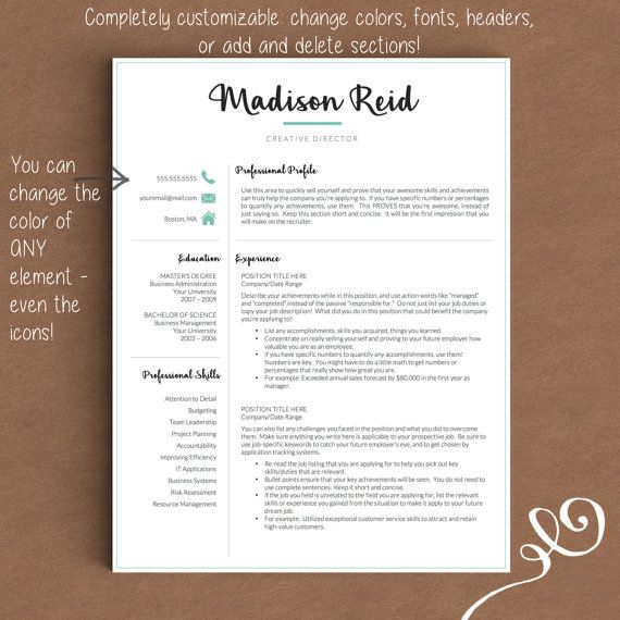 Modern Resume Template for Word \ Pages 1, 2 and 3 Page Resume + - mac pages resume templates