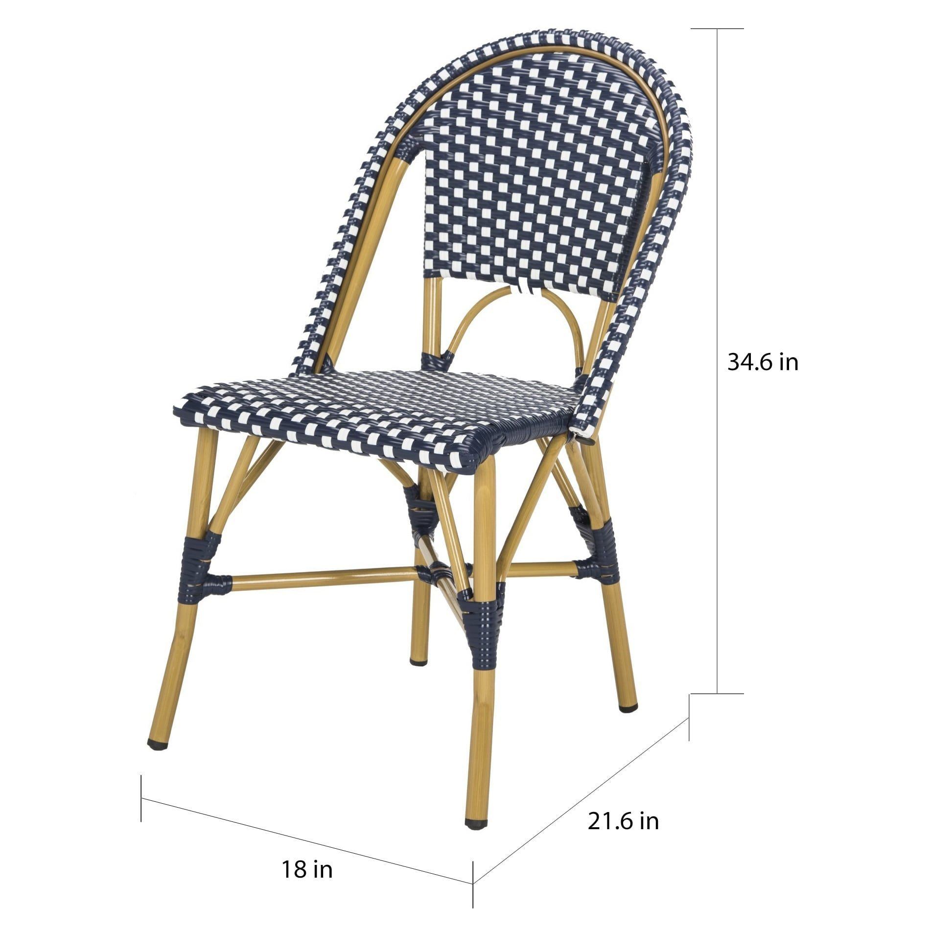 Peachy Safavieh Salcha Indoor Outdoor French Bistro Navy White Inzonedesignstudio Interior Chair Design Inzonedesignstudiocom