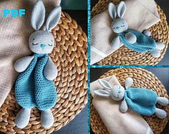 Crochet Bunny Lovey, Snuggly Rabbit, Animal Security Blanket Toy, Crochet baby Amigurumi, Comfort Sleeping, nursery rug, first stuff animal #securityblankets