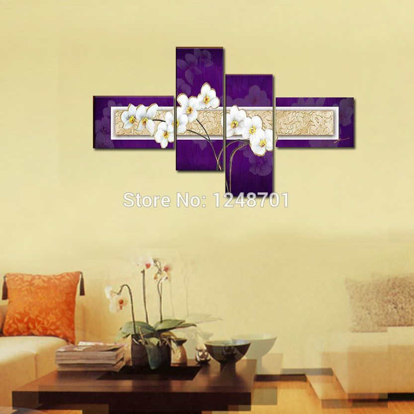 Purple and White Canvas Wall Art Abstract Modern Acrylic Painting ...