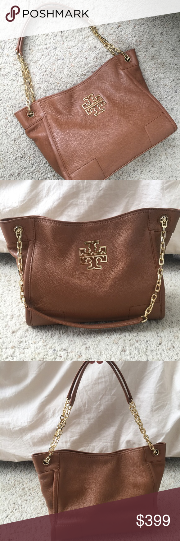 1cf083e50408 Tory Burch Britten Small Slouchy Tote in Bark authentic purchased from the tory  burch website. britten small slouchy bag. worn for a couple months.  gorgeous ...
