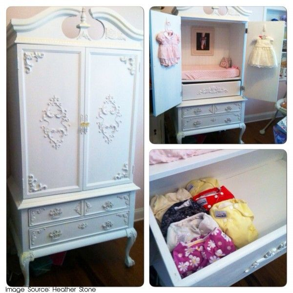 Refinished Armoire for cloth diaper storage For the