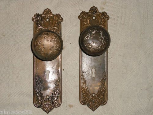 Copper Finish Victorian Door Knobs with Matching Backplates ...