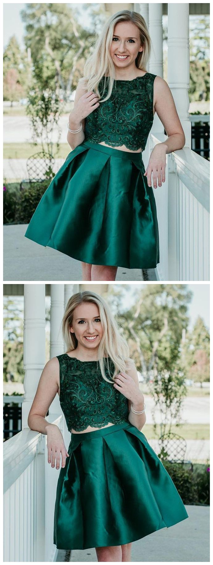 Two pieces aline scoop hunter short prom dress with beading