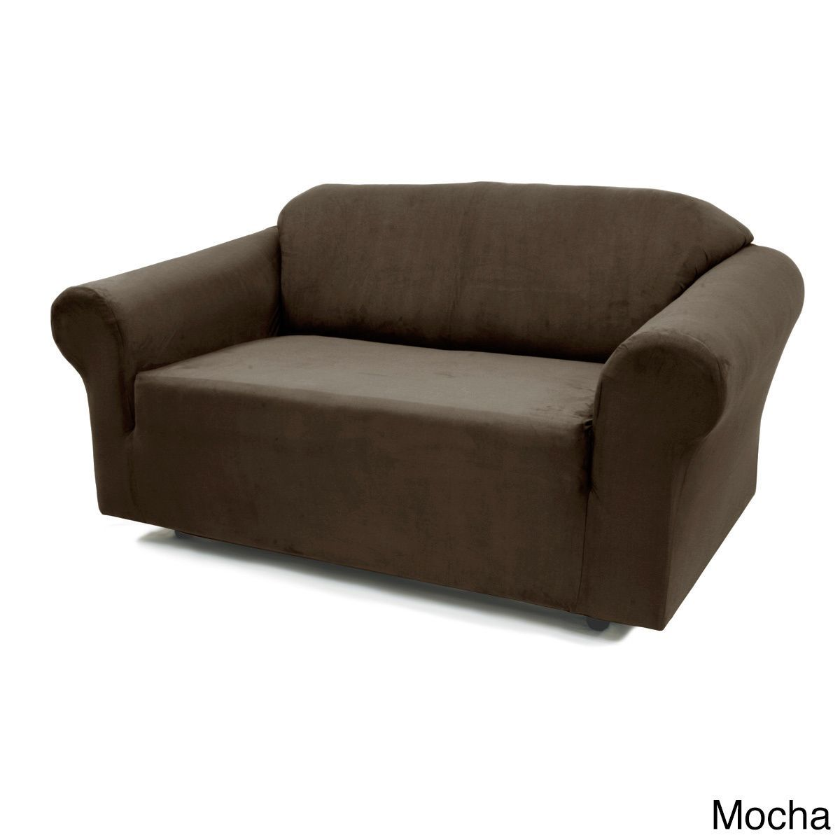 Stretch Suede Sofa Slipcover Mocha Brown Solid