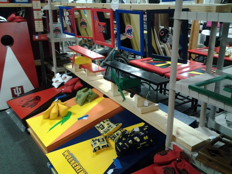 All kinds of sports mirrors, games, and equipment.