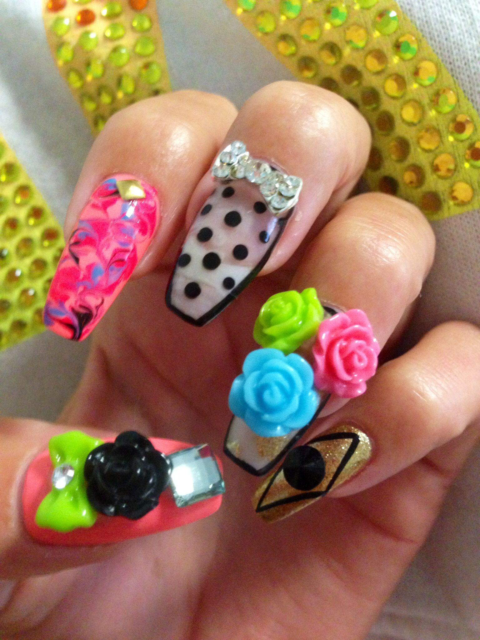 3d Nails Summer Nail Designs Dots Tye Dye Neon Nails Nails