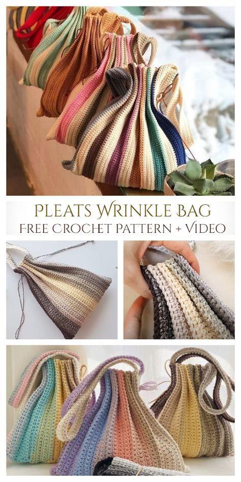 Pleats Wrinkle Bag Free Crochet Pattern + Video