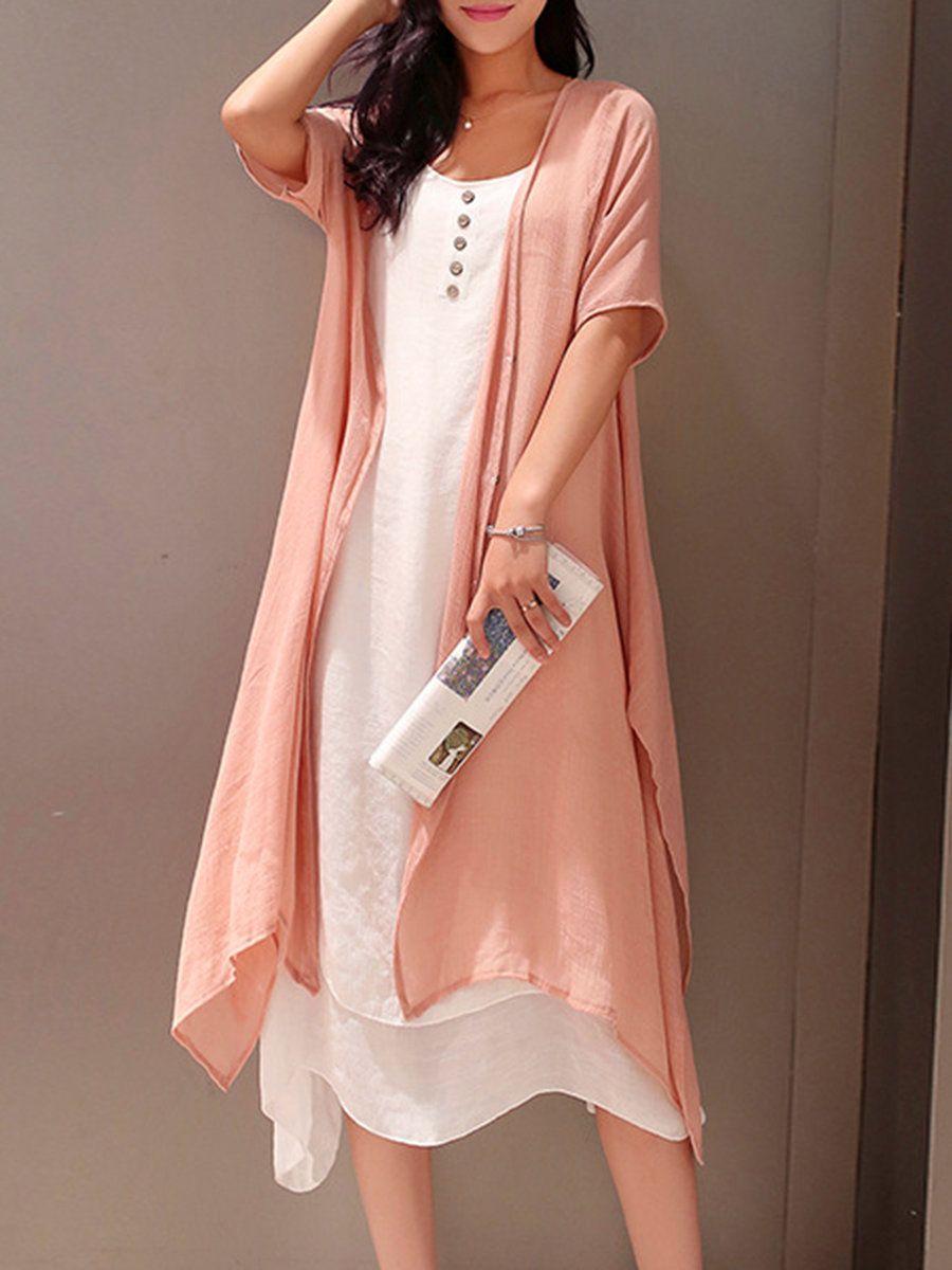 d830e7674c0 Shop Casual Dresses - Pink Crew Neck Two Piece Buttoned Casual Casual Dress  online. Discover unique designers fashion at PopJuLia.com.