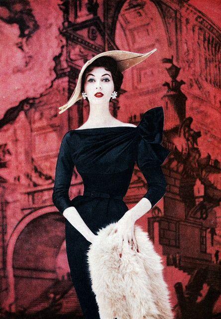 1950's Classic Chic Fashion | The Little Black Dress | Amazing Hat | #1950sfashion #1950sclothing #1950sdress
