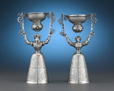 Lovely traditional German silver wedding cups