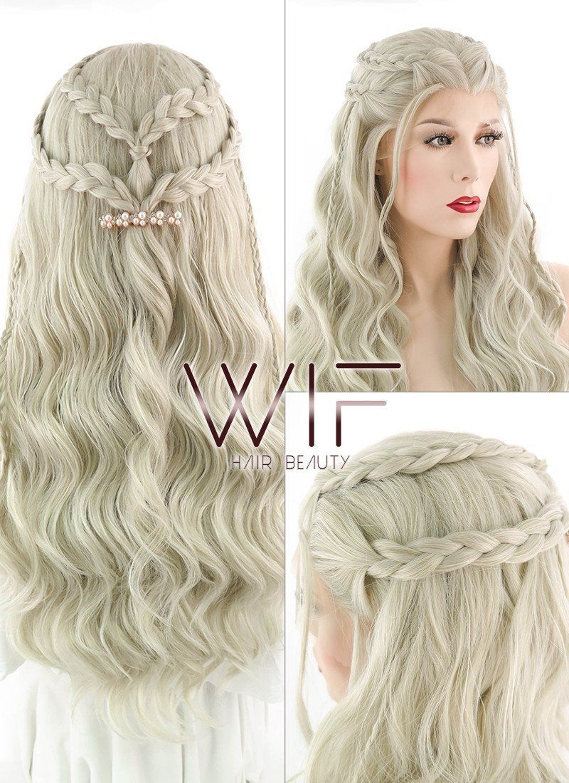 Light Ash Blonde Braided Lace Front Synthetic Wig Lf2017 Blonde