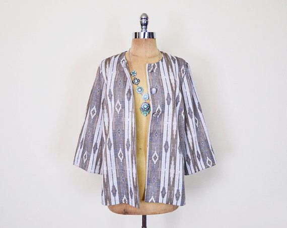 #Vintage #70s Beige #Southwestern #Jacket Blouse Top #Southwest Jacket #Tribal Jacket Tribal Print Jacket 3/4 Sleeve 70s #Boho Jacket M Medium #Etsy #EtsyVintage #TrashyVintage @Etsy $38.00
