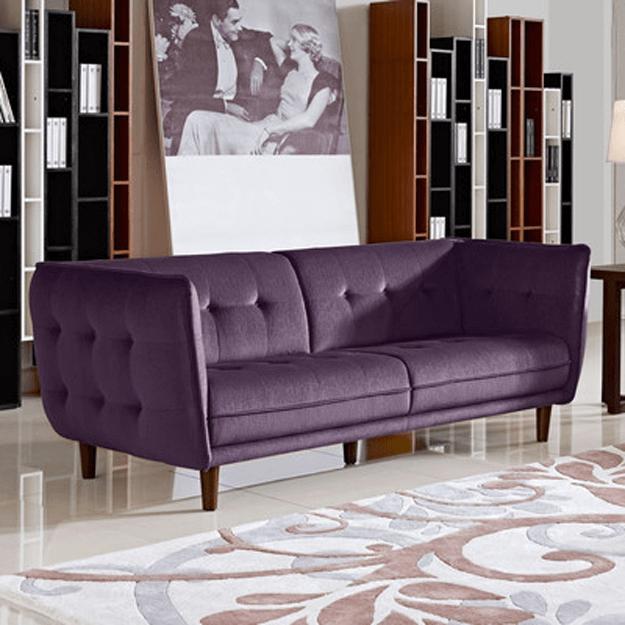 Retro Living Room With Dark Purple Sofa Benjamin Moore Shadow