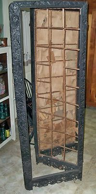 Antique 1800s hand carved wood ebony room divider 4 paneled folding