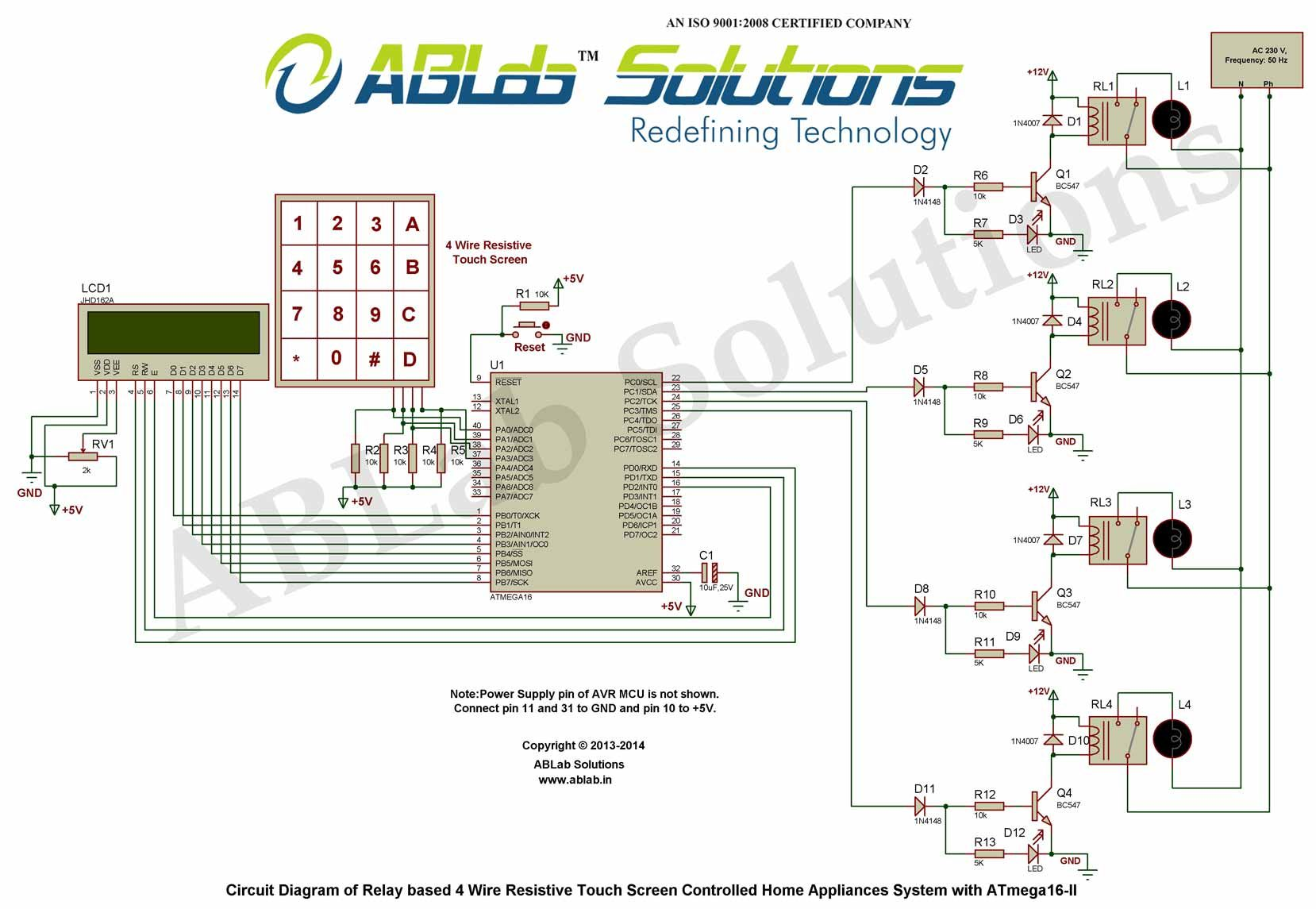Relay-based-4-Wire-Resistive-Touch-Screen-Controlled-Home-Appliances-System-with-AVR  ATmega16 Microcontroller-II Circuit Diagram