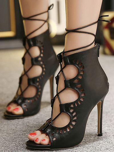 Sandalias de Gladiador negro Sandalias de tacón alto con cordones y sandalias de tacón alto para mujeres Liquidación bajo tarifa de envío Comprar la mejor venta barata Venta de alta calidad en línea QogI457Yz
