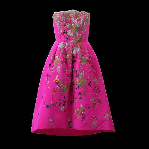 OSCAR DE LA RENTA Strapless Embroidered Dress