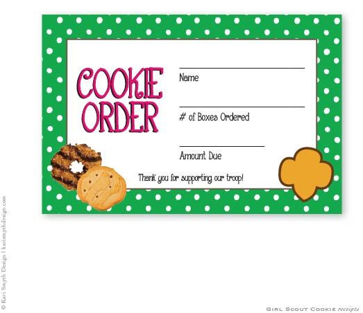 Girl Scout Cookie Sales Polka Dot Receipts By Karismythdesign