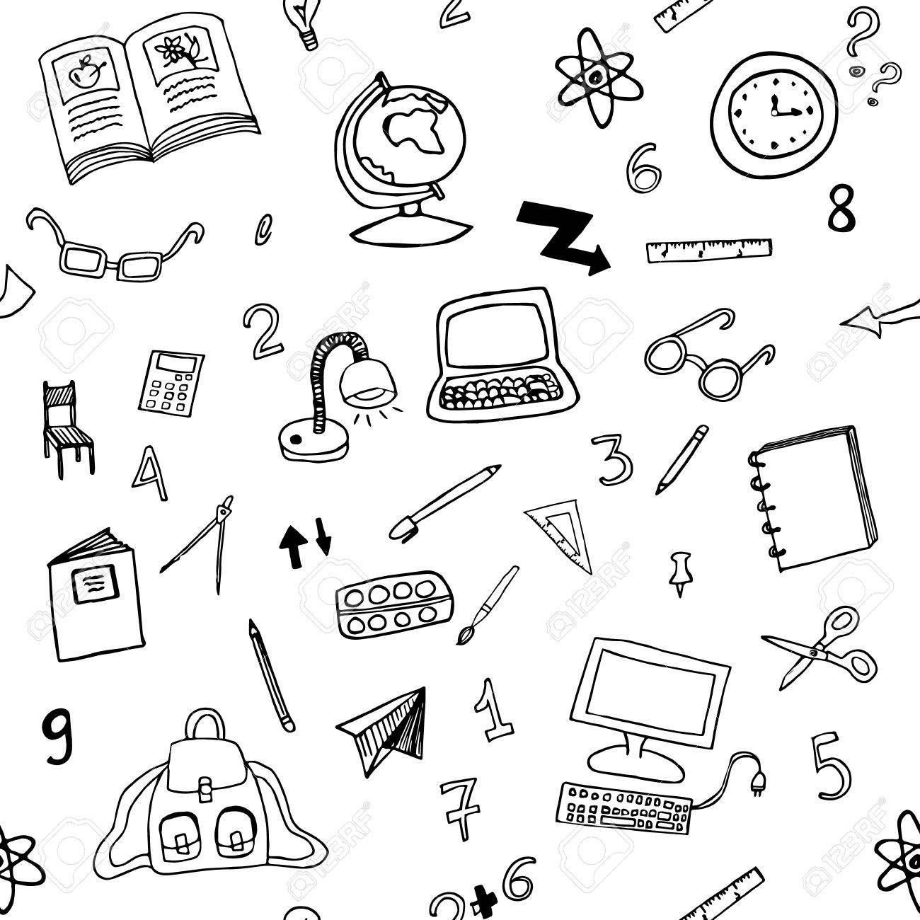 Doodle Seamless Pattern Of Classroom Objects With Numbers Back