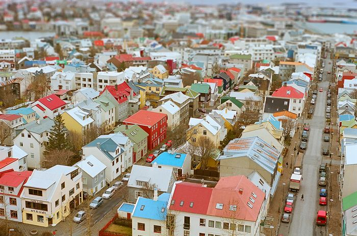reykjavik rooftops from hallgrimskirkja church tower by jeanine caron