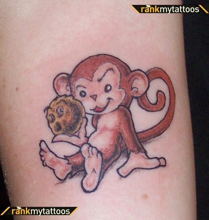 Monkey tattoo designs cheeky monkey animal tattoo take for Baby monkey tattoos