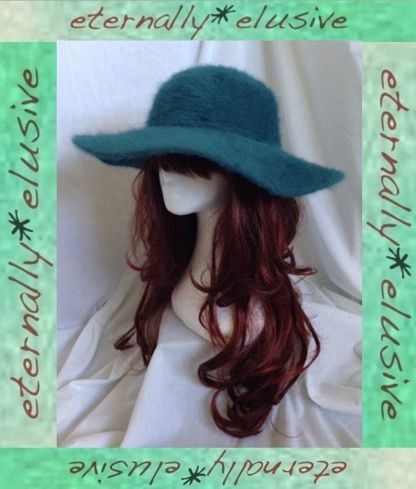 LIMITED COLLECTION M S 70s Style Teal Fluffy Angora Wool Floppy Hat Women  Ladies b5bf7181711d