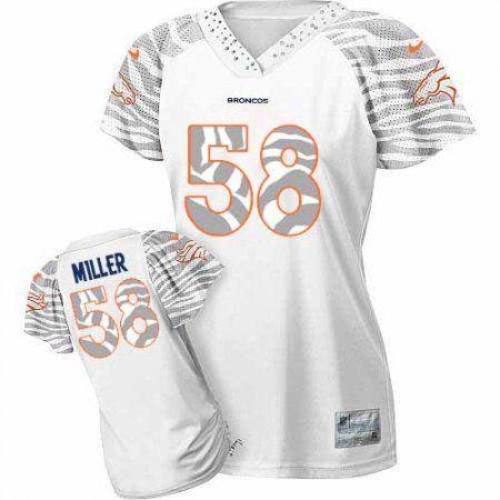 42984e2b5 Denver Broncos Von Miller Womens Jersey - White Zebra Field Flirt NFL 58  Game ...