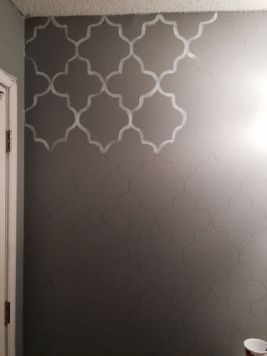 Hand Painted Wall Pattern Diy Wallpaper Homemade Stencil Home