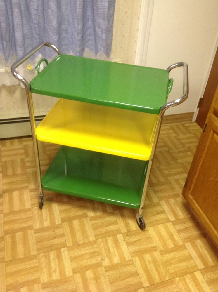 Vintage COSCO Metal Kitchen Utility Serving Cart Removable Tray! Green  Yellow