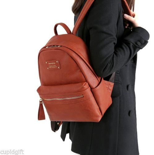 0d2cbb04f177 Office Leather Mini Backpack Shoulder Messenger School Bag Cute Korean  Fashion