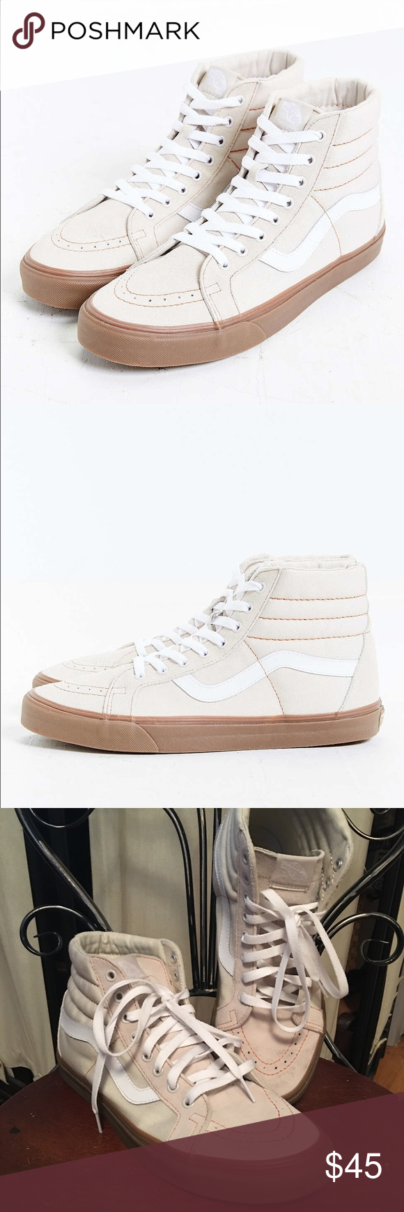 1e8c118cbb Men sz 10 cream van skate hi Men vans sk8 hi beige color gum sole with red  stitching in great condition worn twice Vans Shoes