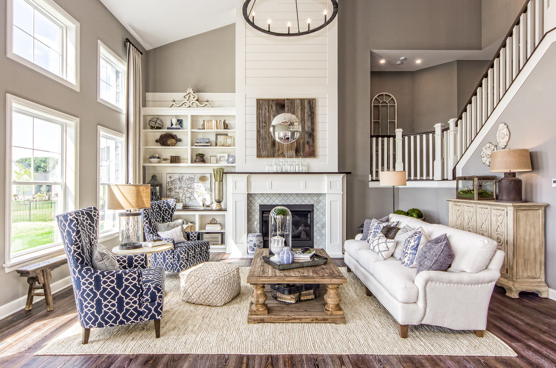 Living Room Great Room Fireplace Two Story Great Room Wall