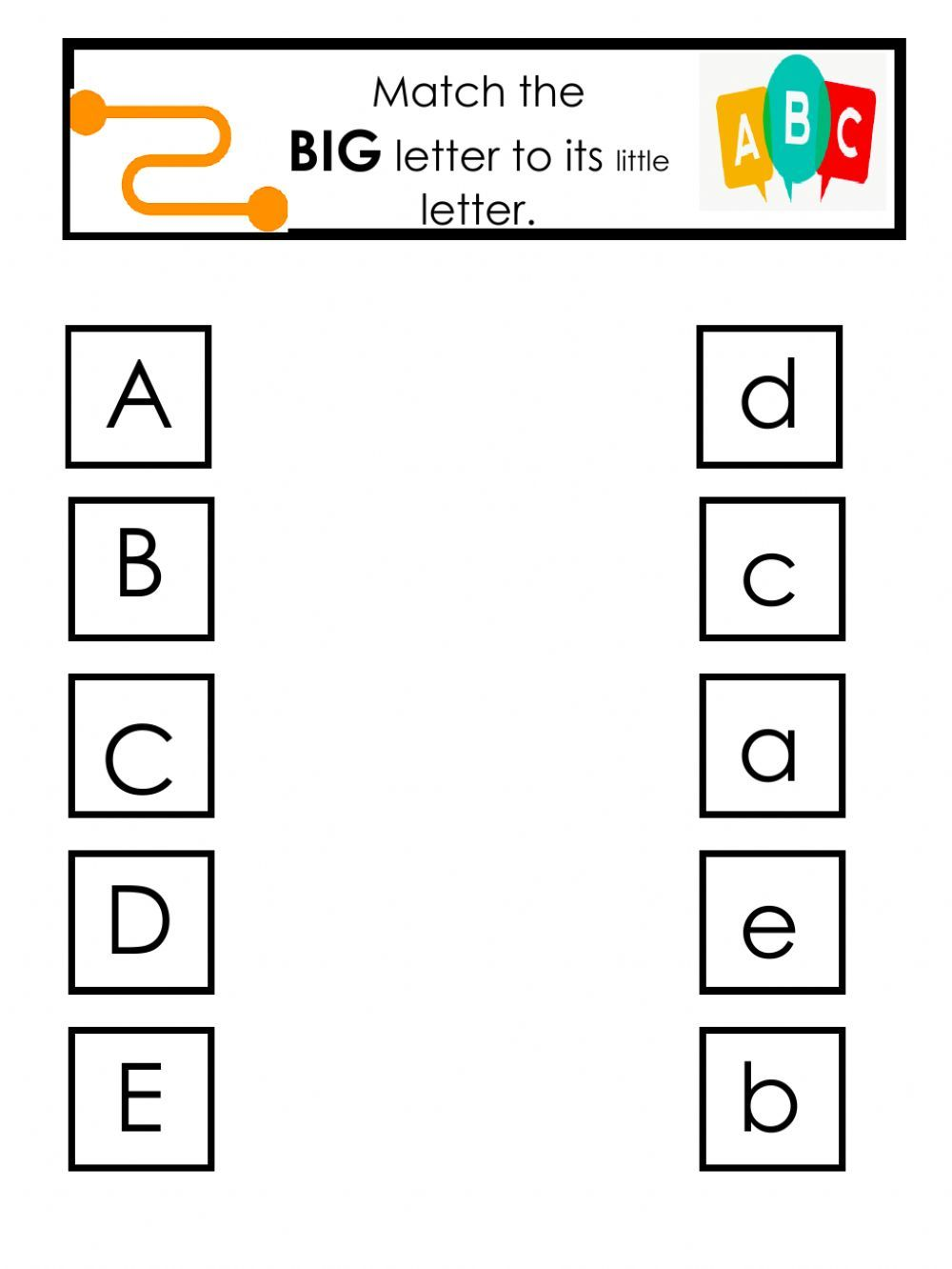 Match Big To Little Letters Interactive Worksheet Alphabet Matching Letter G Worksheets Letter Worksheets Letter matching worksheets for