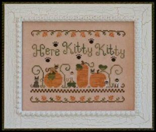 here kitty kitty is the title of this cross stitch pattern from rh pinterest com free country cottage cross stitch patterns country cottage cross stitch pinterest