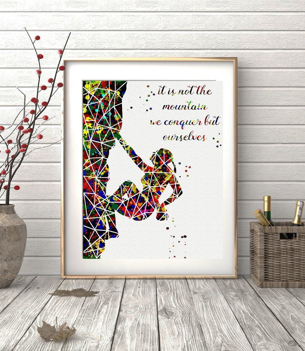Rock Climbing Girl Geometric Watercolor Posters Art Prints Extreme