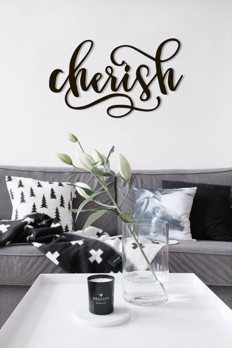 Cherish Metal Word Wall Art Home Decor Hanging