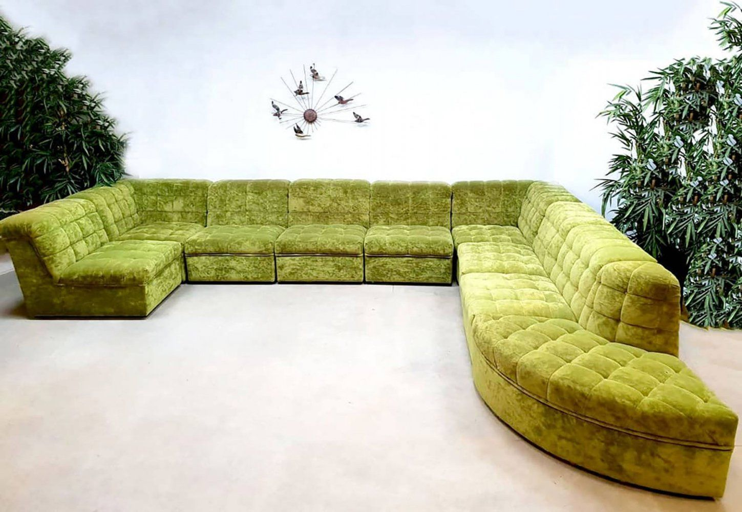 Groovy Vintage Xxl Modular Sofa In Lime Green Velvet 1960S Bralicious Painted Fabric Chair Ideas Braliciousco