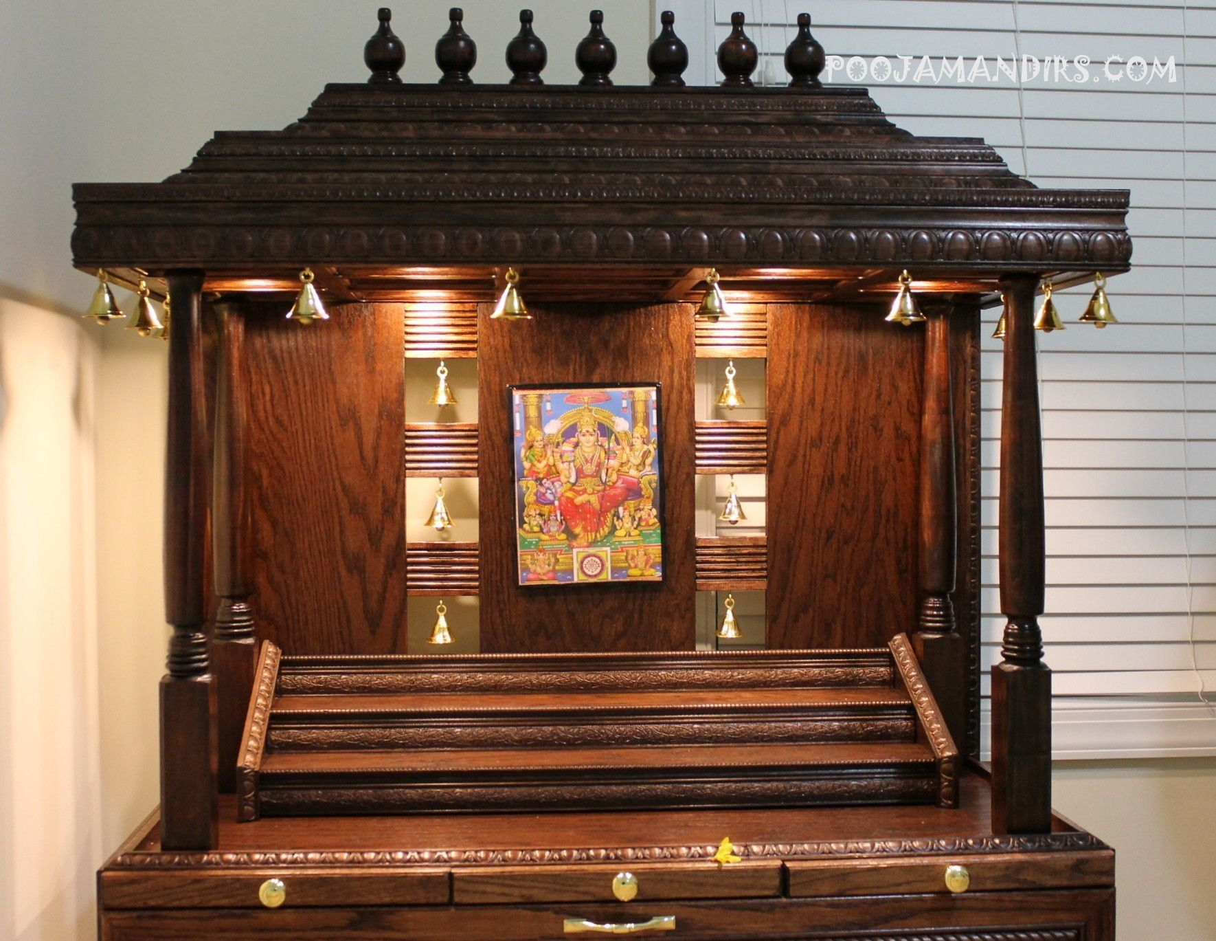 Wall Mounted Wooden Temple Design For Home Pooja Mandirs Usa Shravana Collection Open Model Mandir