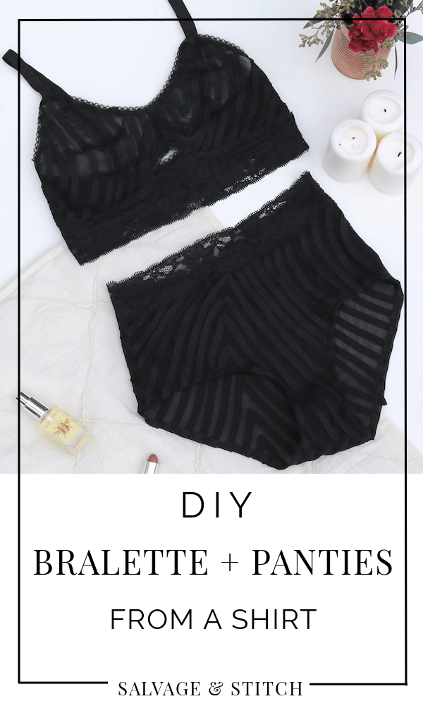 a8589fe6e188 Make this DIY bralette and panties with just a stretchy shirt and some  elastic! It's actually really easy to make lingerie, and it's a great way  to use ...