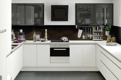 White U Shaped Kitchen u shaped handlesless kitchen high gloss white abstrakt ikea black