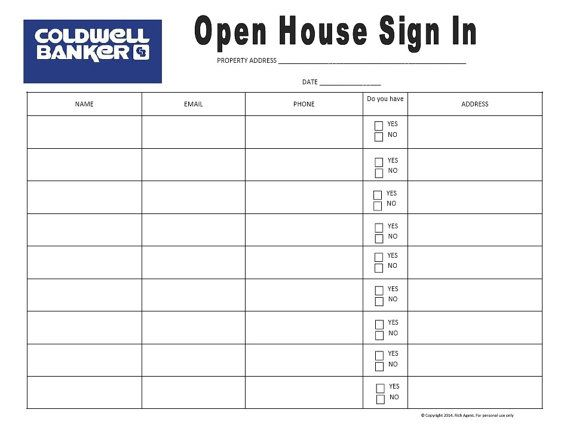 Open House Sign In Sheet  Blue  Real Estate Forms  Open House