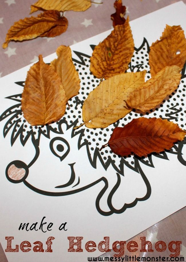Free Craft Ideas For Kids Part - 35: Autumn Leaf Craft Ideas For Kids. Leaf Hedgehog With Free Printable  Hedgehog Colouring Page.