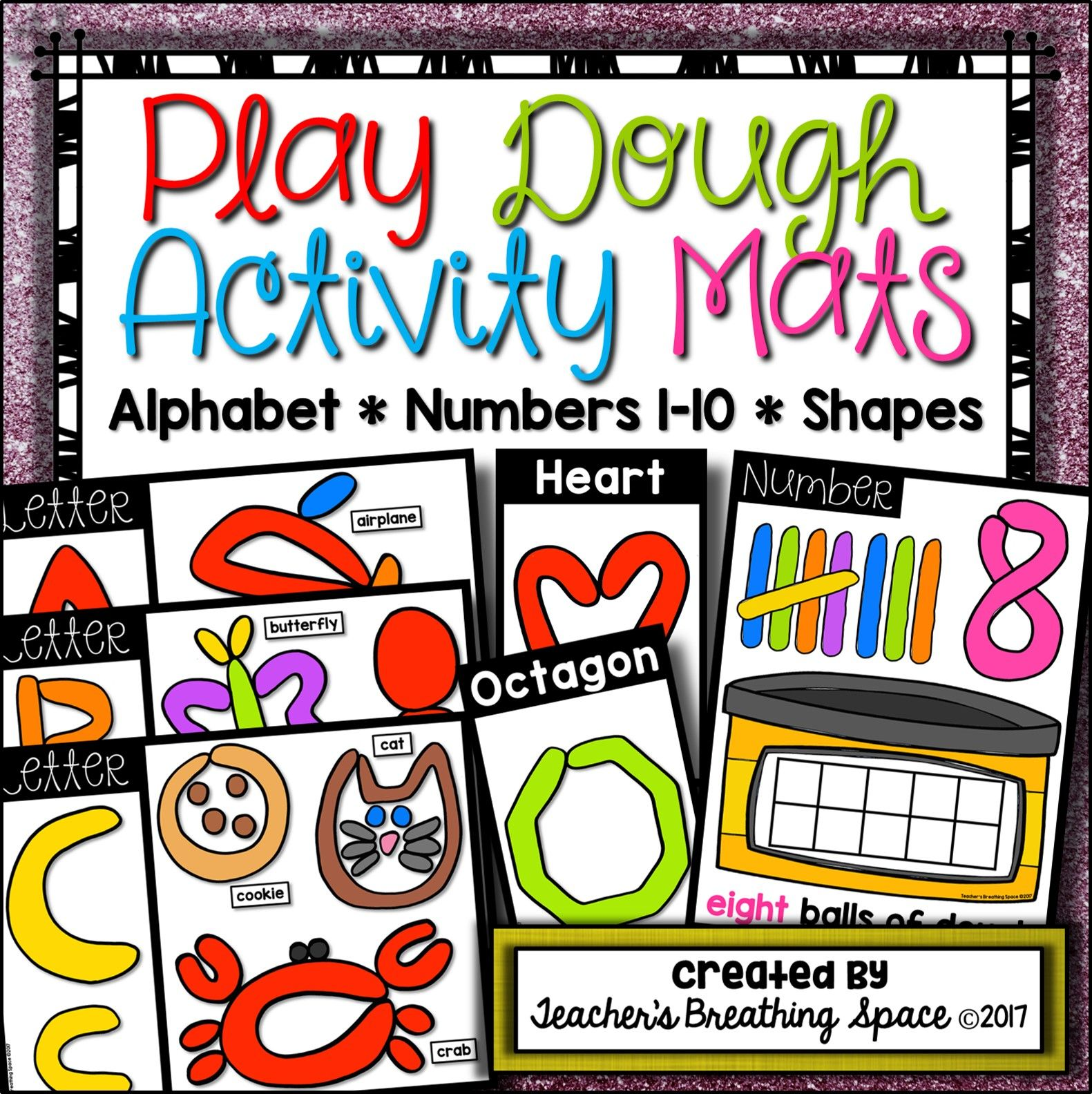 Play dough mats letters beginning sounds numbers and