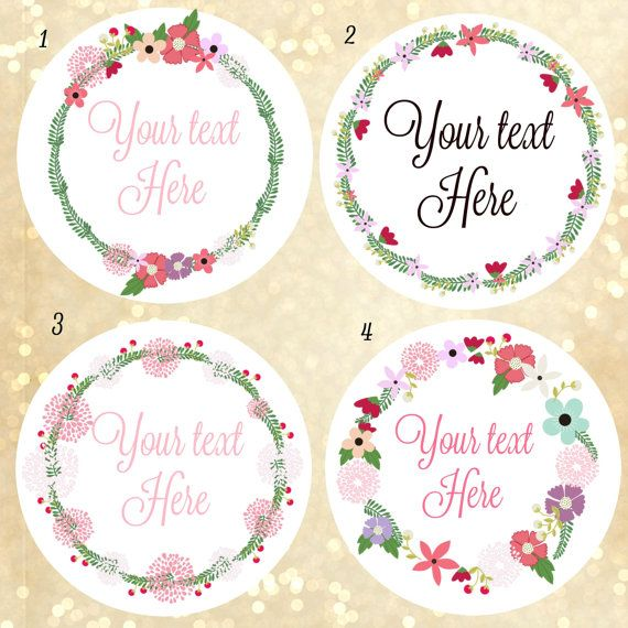 Custom Logo Stickers Custom Labels Wreath Of Flower Labels PRE - Custom stickers and labels