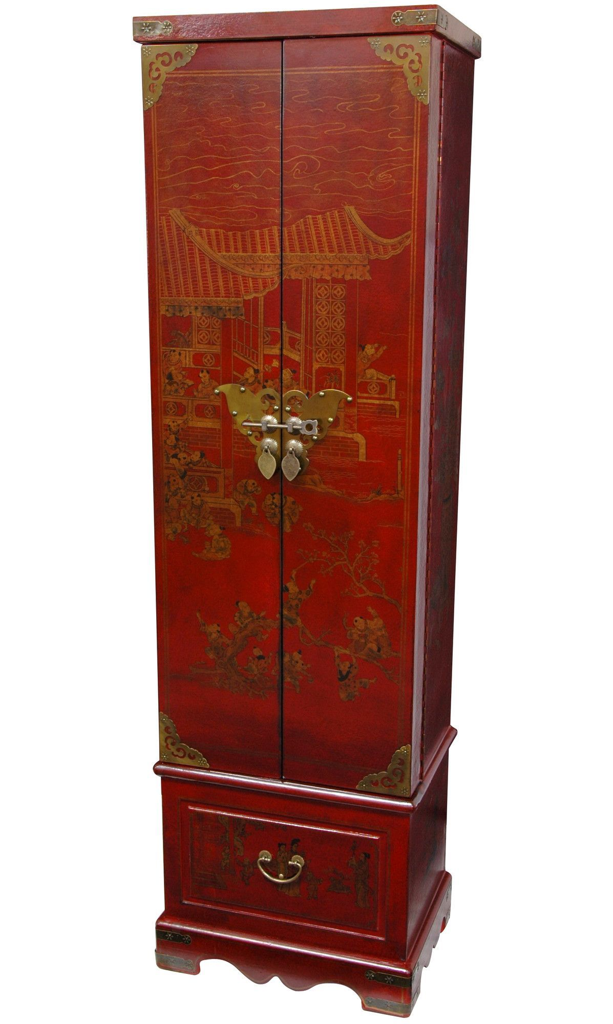 World Menagerie Migues Jewelry Armoire Wall Mounted Jewelry Armoire Jewelry Armoire Oriental Furniture