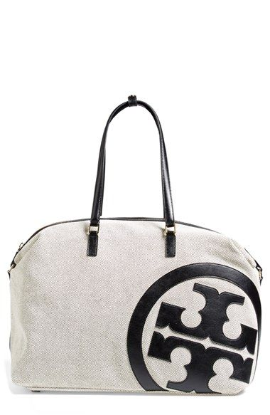 Tory Burch Lonnie Canvas Leather Logo Duffle Bag Nordstrom