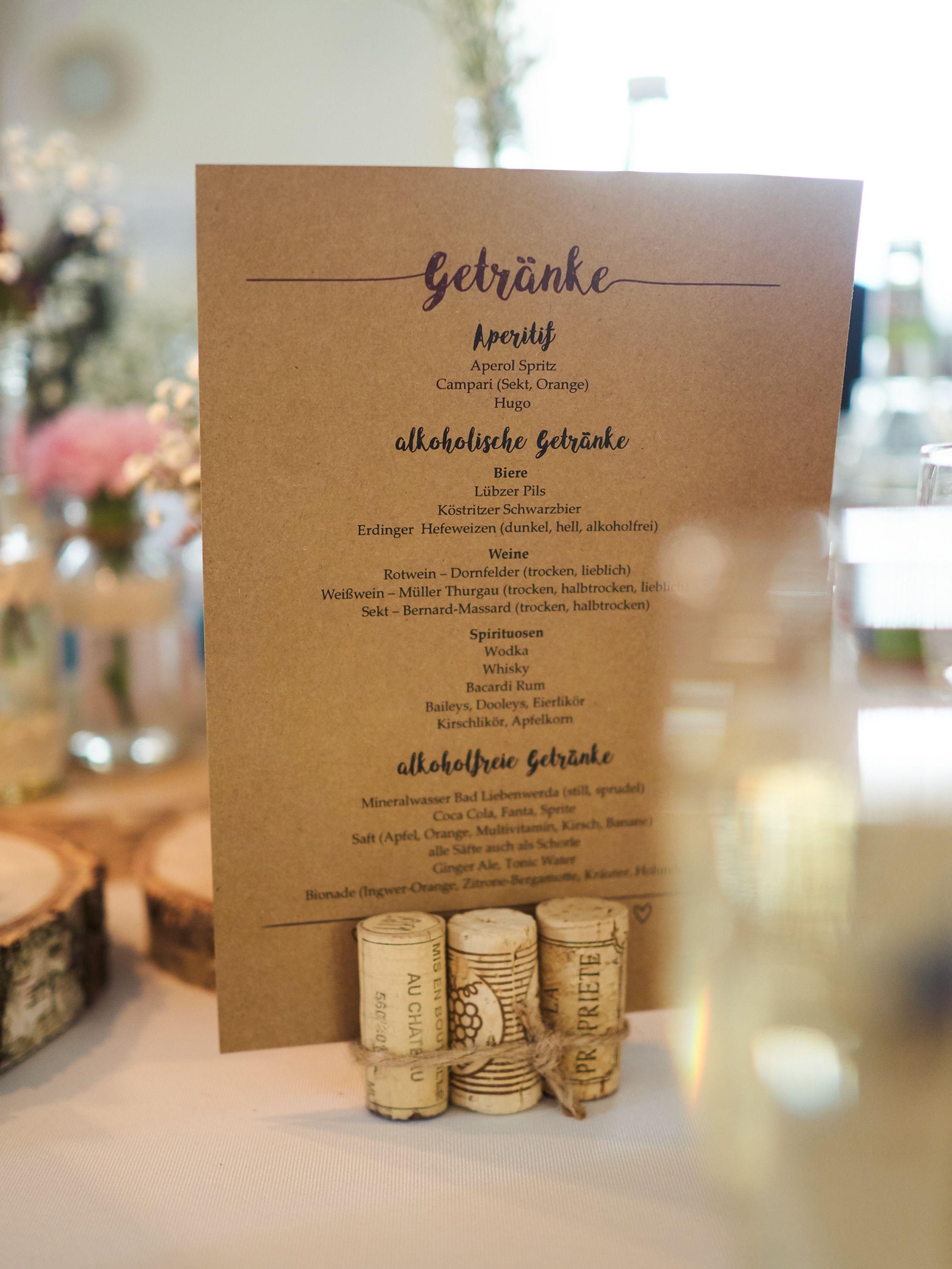 Getrnkekarte Unsere Hochzeit Pinterest